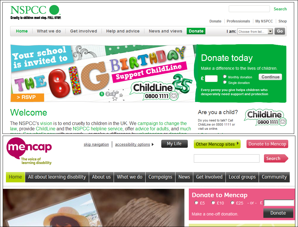 Quick donations on homepages