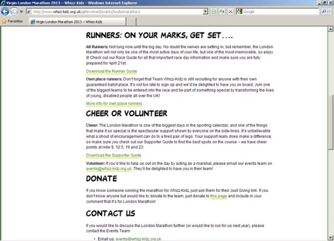 WhizzKidz marathon page