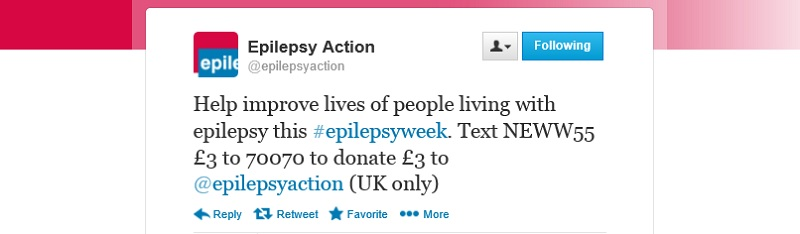 Epilepsy Action - text giving tweet
