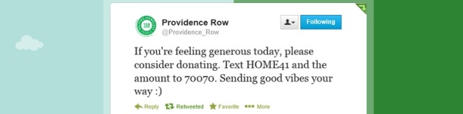 Providence Row - text donation ask