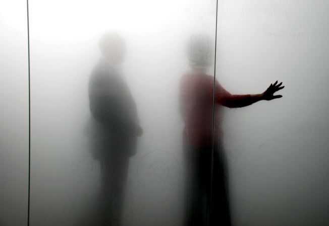 Gormley's Blind Light (2007) - two people inside the cloud box