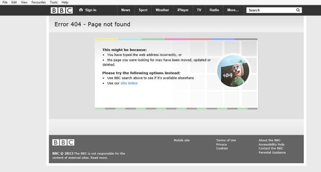 BBC error page - 1970s retro with clown