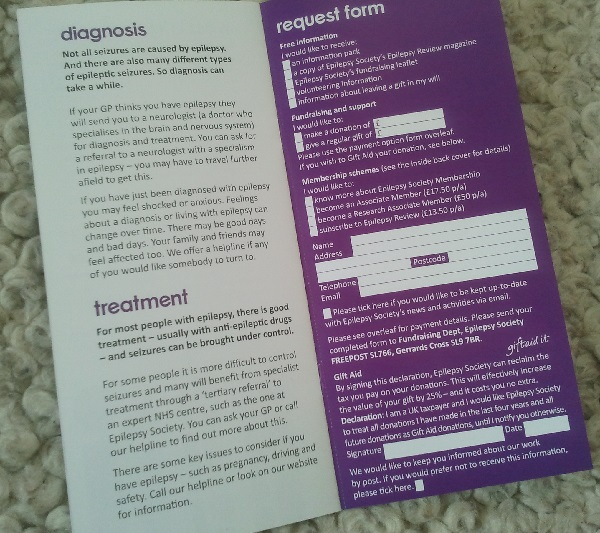 Information leaflet with membership / donation ask at the back
