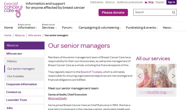 Breast Cancer Care - Our senior managers