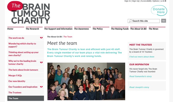 Brian Tumour Charity - meet the team