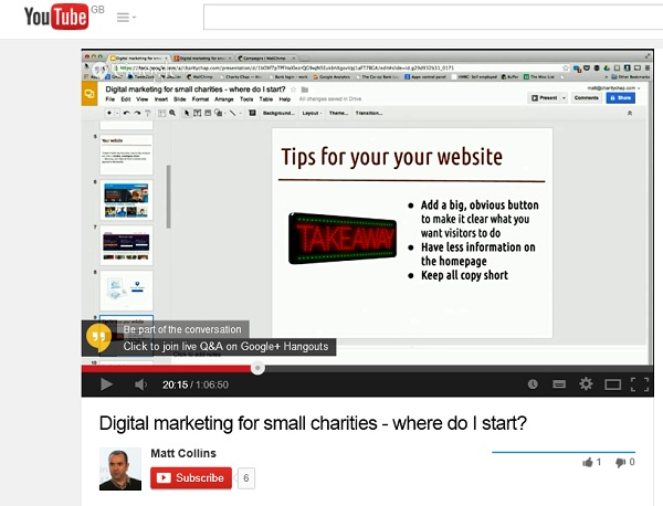 Screenshot from Matt Collins' webinar