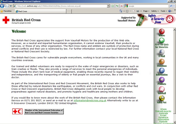 British Red Cross website 1998