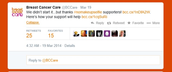 BCCare tweet: We didn't start it...but thanks #nomakeupselfie supporters! http://bcc.cx/1nDfA2W . Here's how your support will help http://bcc.cx/1cqSuRi