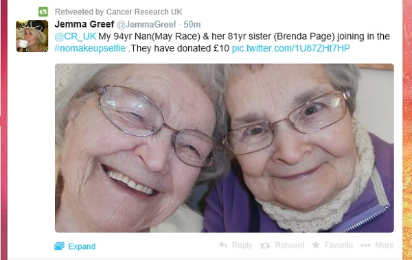Nan selfie RTd by Cancer Research