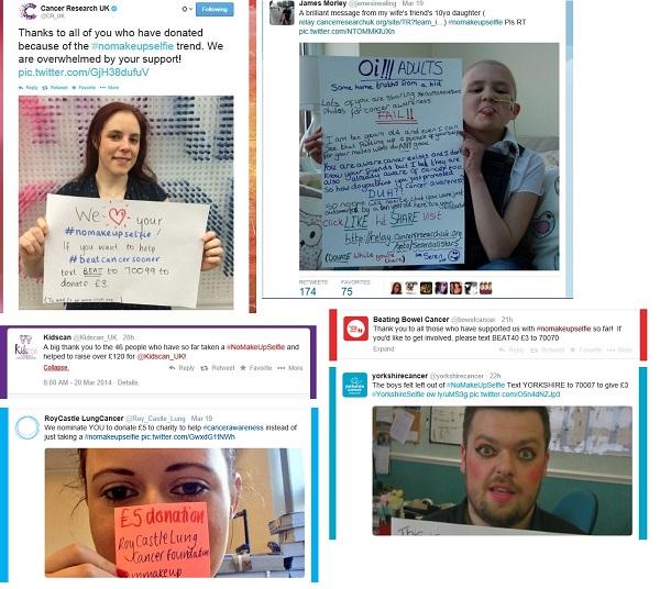 Sample #nomakeupselfie tweets