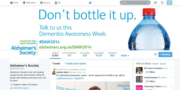 Alzheimer's Society: Don't bottle it up campaign text and image