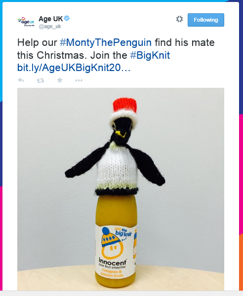 Tweet: Help our #MontyThePenguin find his mate this Christmas. Join the #BigKnit