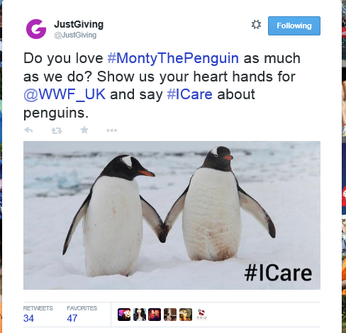 Tweet: Do you love #MontyThePenguin as much as we do? Show us your heart hands for @WWF_UK and say #ICare about penguins.