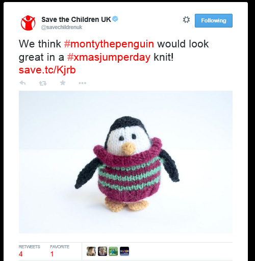 Tweet: We think #montythepenguin would look great in a #xmasjumperday knit!