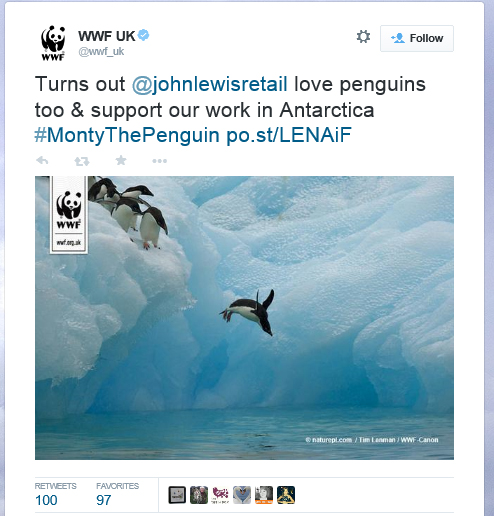 Tweet: Turns out @johnlewisretail love penguins too & support our work in Antarctica #MontyThePenguin http://po.st/LENAiF