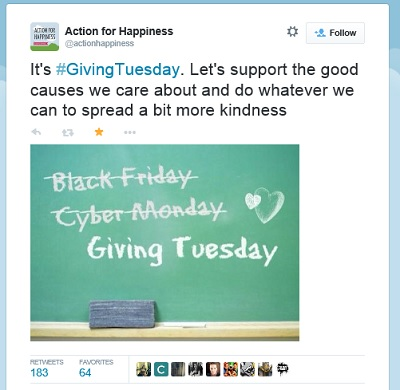 Tweet promoting GivingTuesday with a blackboard with Black Friday and Cyber Monday crossed out