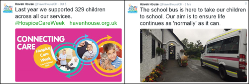 2 tweets from Haven House Children's Hospice showing their work