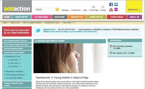 Addaction: Case study image of woman looking towards a window. We can see her hair and cheek
