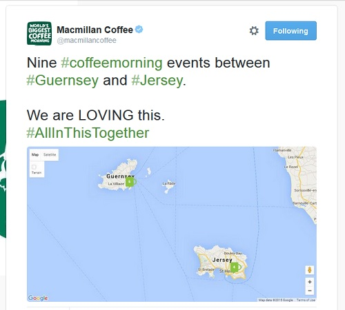 Macmillan Coffee: map showing the number of coffee mornings on Jersey and Guernsey