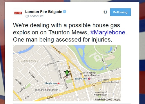 London Fire Brigade: map showing location of an incident