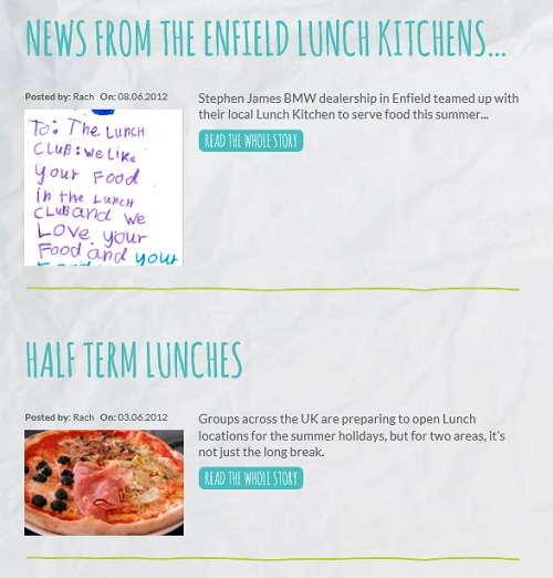Make Lunch: close-up of a thank you letter and an image of pizza