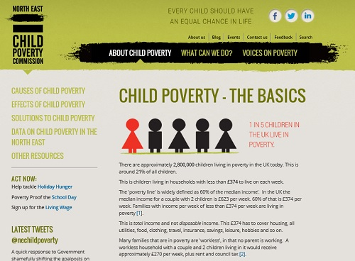 NE Child Poverty: graphic showing one in five childrenin the UK live in poverty
