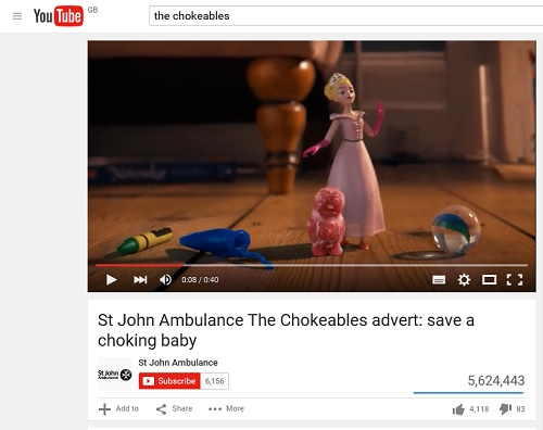 SJA Chokeables video uses animated characters demonstrating what to do when a baby is choking