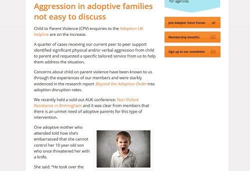 Adoption UK: page about aggression showing a young angry boy shouting direct to camera