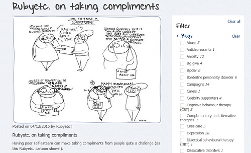 Mind blog: illustrated with a cartoon about taking compliments