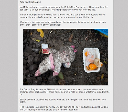 British Red Cross: blog on the refugee crisis showing a muddy teddy in a refugee camp