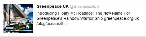 Greenpeace April Fool - Floaty McFloatface