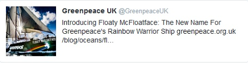 Greenpeace April Fool - Floaty McFloatface