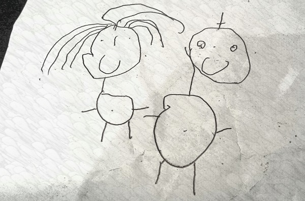 Kid's drawing - two smiling people holding hands