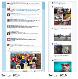 Twitter in 2014 = one tweet with an image out of 8. Twitter 2016 = 5 tweets, 4 with images