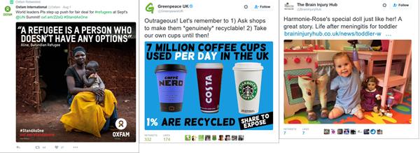 L-R Oxfam, Greenpeace, Brain Injury Hub