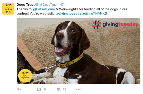 Dog's Trust sending personal thanks
