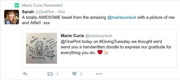 Marie Curie - a supporter says thanks for the fun thank you