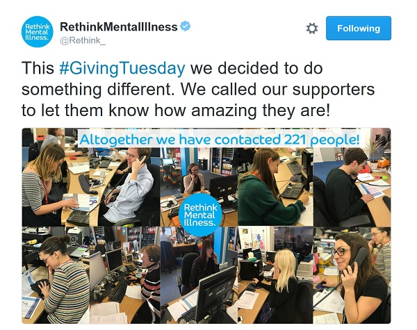 Rethink Mental Illlness contacted 221 people to say thank you