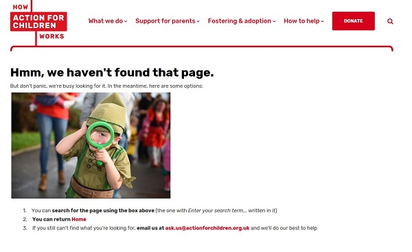 Action for Children's error message - cheeky boy with magnifying glass