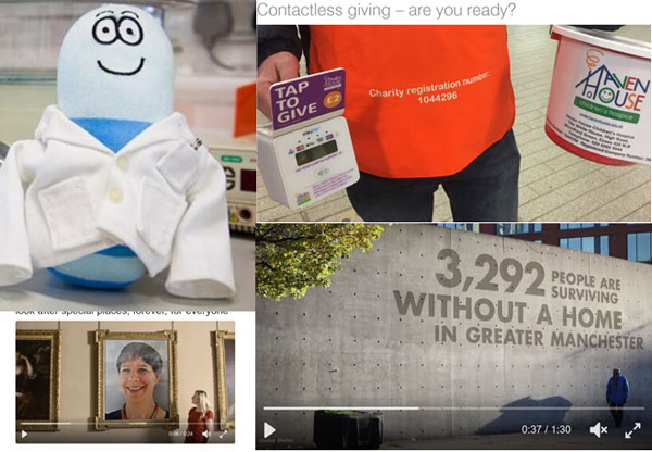 L-R Dave the Parkinsons Worm, contactless giving Zurich Insurance post, Street Support video, National Lottery gif