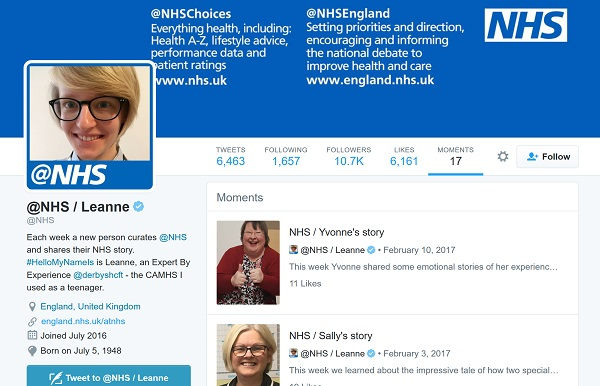 screenshot from @nhs account