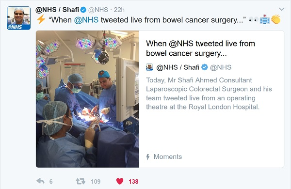 @nhs live tweet a bowel cancer operation