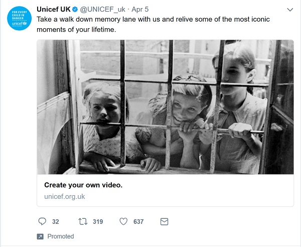 Unicef UK promoted tweet