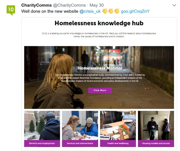 Charity Comms tweet promoting Crisis blog post