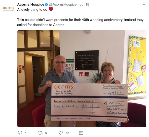 Acorns - cheque for £150 from donations to mark a couple's 40th wedding anniversary