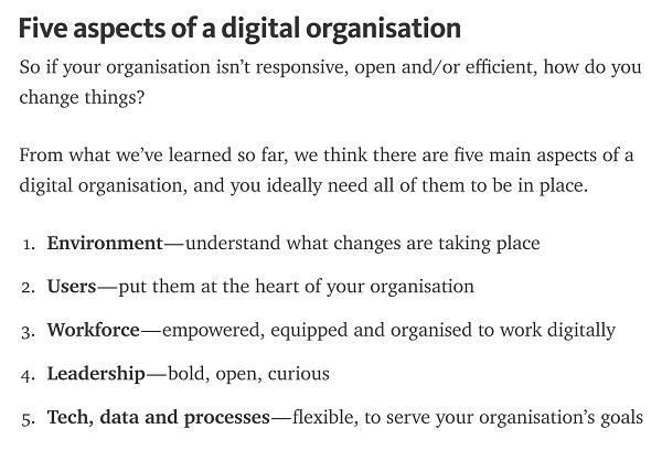 5 aspects of a digital organisation
