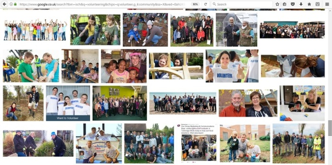 Collage of images from google search for volunteering