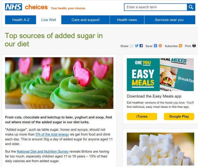 NHS Choices about about sugar, top image is green cupcakes