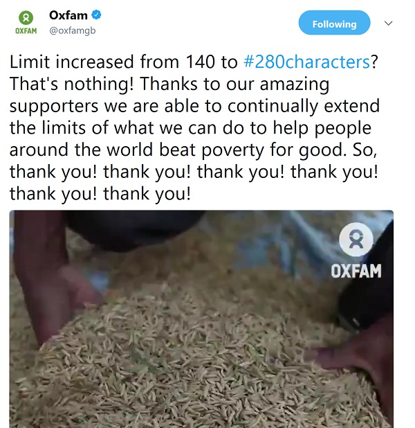 Oxfam's thank you video