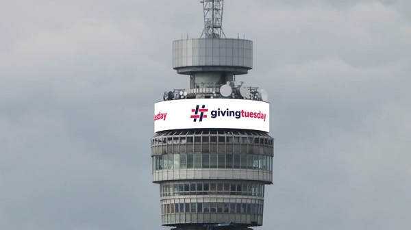 BT image from the London BT Tower scrolling #GivingTuesday video